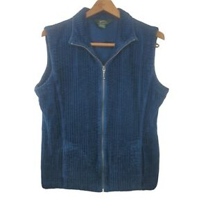 Woolrich Women's Zippered Vest Size Large Blue 100% Cotton Ribbed