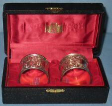 VINTAGE COLLECTIBLE SILVERPLATE PAIR EMBOSSED CREST & DESIGN NAPKIN RINGS w/BOX