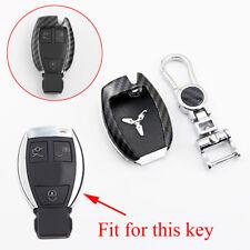 Carbon Fiber 2/3 Buttons Key Case Fob Holder Bag Cover Trim For Benz Accessories