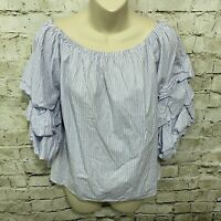 Trendy J's Womens XL Blue White Striped Ruffle Sleeve Off The Shoulder Top D34