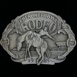 Cherokee Iowa Rodeo Cowboy Bucking Horse Bronc Western 80s NOS Vtg Belt Buckle