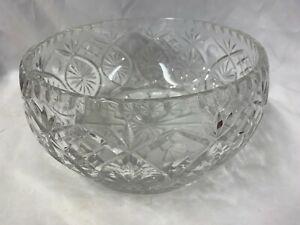 Large Heavy Crystal Cut Glass Fruit Bowl H12cm D23cm