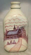 Milk Bottle Handpainted Barn Vt Country Milk Farmhouse Rustic Primitive Half Gal