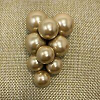 Vintage Large Faux Pearl Grape Bunch Dress Scarf Fur Clip
