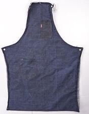 Vintage DENIM Bib Shop Apron Workshop Hanks Tool Pockets Dark Blue Red Sttich
