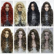 Larga Espiral Rizos Mujer Damas Pelo Natural Pelucas de disfraz diaria de 15 Colores