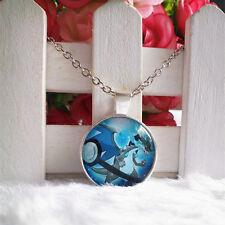 Mega Charizard X Pokemon Pendant Tibet silver Cabochon Glass Chain Necklace