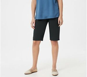 Martha Stewart Size Petite 4 Stretch Twill Bermuda Shorts Francesca Black 4P NEW