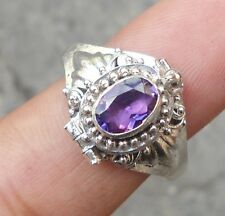 925 Solid Silver Balinese Poison/Locket Ring Amethyst Cut Size 6-H65