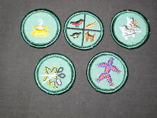 5 diff Girl Scout proficiency badges, older        gs11