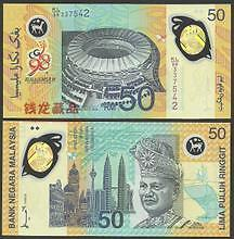 Malaysia RM50 KL98 Commonwealth Games, 1st Polymer Banknote With Folder (UNC) #2