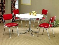 5 Pcs Dinette Set Retro White Round Dining Table & 4 Red Retro Chairs Set 50's