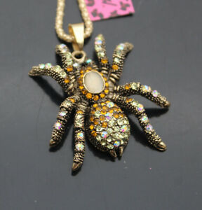 B002  Betsey Johnson crystal Lovely Spider Pendant Sweater Necklaces