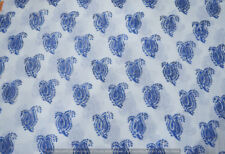 Running 100% Cotton Voile Fabric blue Multi Sewing HandBlock Print Craft 5 yard