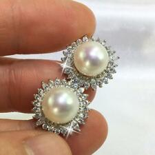 Ladies Gorgeous Solitaire Freshwater Pearl & Sim Dia Flower Halo Stud Earrings