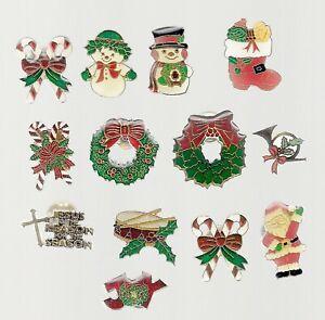 Christmas Pin Lot of 13 Pins Santa Snowmen Wreaths More