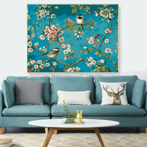 Birds Flowers Paint By Numbers Kit Canvas Oil Painting Acrylic Adult Kids DIY UK