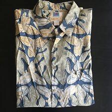 Kahala Hawaiian Shirt Mens XL Palm Leaf Graphic Multi Color Button Down Oxford