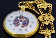 MUSEUM historic Chinese Qing Dynasty Bovet Duplex Gild Dragon pocket watch&fob