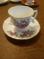 Vintage Fine Bone China England Staffordshire Mandarin teacup and saucer