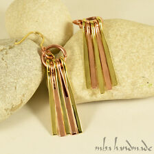 Hammered Copper & Brass Handcrafted Dangle Earrings Mba Handmade