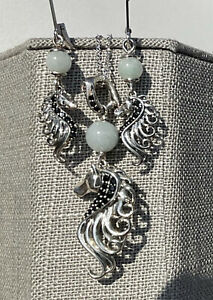 Jade of Yesteryear JOY HSN Horse Pendant Green Black Necklace & Earring Set