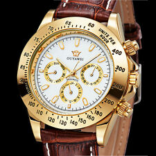 Mens Automatic Yellowgold Case Time Brown Genuine Leather Band Wrist Watch