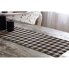 New Primitive Cabin Rustic Tan Black Check Burlap Table Runner 36""