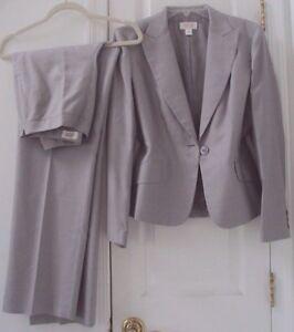 TALBOTS 6 GRAY RAYON/SILK BLAZER JACKET & DRESS PANT SUIT #48SML (BOTH LINED!)