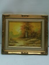 Cantrell Signed  River & Forest Birds Landscape Oil Painting Framed Art VGC