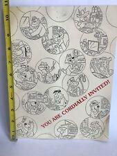 Rare Vintage 70's Hanna-Barbera Luncheon Invitation Animation Cartoons 1970s