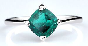 14KT Gold With Cushion Shape 1.30Ct Natural Zambian Green Emerald Woman's Ring