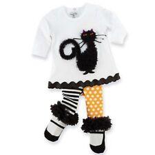 New Mud Pie 2 pc  CAT TUNIC & TIGHTS Halloween Fall Black  White 0-6 mos gift