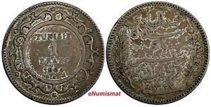 Tunisia Muhammad IV Silver AH1322 (1904) A 1 Franc Toned SCARCE KM# 231 (18 988)