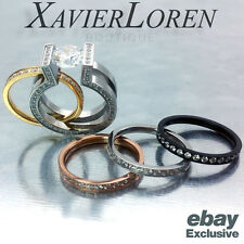 Solitaire Ring W/ Assortment of Four Eternity Rings By B.Tiff New York Size 5