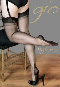 Gio Fully Fashioned Stockings - BLACK  POINT - Imperfects - NYLONZ