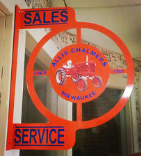 ALLIS CHALMERS ORANGE TRACTOR NOSTALGIC WALL FLANGE ADVERTISING SIGN 2 SIDED
