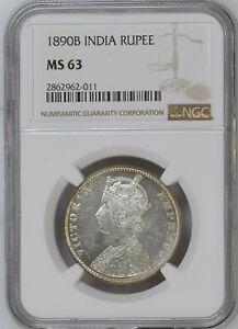 1890 B  British India Empress Victoria Silver Rupee NGC MS 63