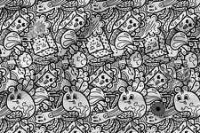 Bedruckter Stoff Bedruckte Baumwolle 100/% Öko-Druck weiß-Schwarzes Muster
