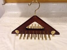 Wooden Tie Hanger Mahogany Color Wood Four Side Hooks