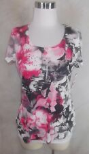 New Style & Co Tee Knit Top Small Hot Pink Black Floral Print Beading