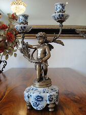 Kerzenleuchter Engel Porzellan Bronze Kandelaber Putte Kerzenständer Antik Edel