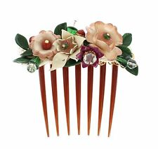 NWT DOLCE & GABBANA Multicolor Floral Crystal Runway Hair Comb Stick Accessory