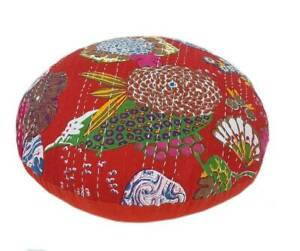 """20x20"""" Indian Handmade Kantha Round Shape Red Cushion Cover Home Decorative"""