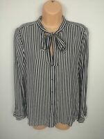 WOMENS ZARA WHITE & BLUE STRIPED SMART WORK BUTTON UP SHIRT BLOUSE CASUAL MEDIUM