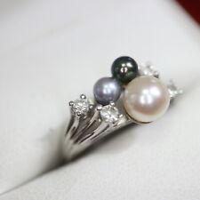 Eleganter Brilliant Perlenring 585 Weißgold = 3,3 g