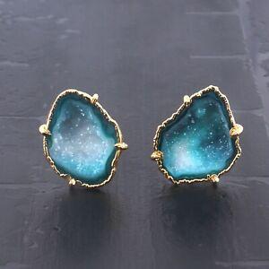 Genuine Green Geode Druzy Gold Electroplated Prong Setting Men's Wear Cufflinks