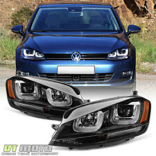 [L+R] Blk 2015-2017 Volkswagen VW Golf/GTI MK7 LED DRL Tube Projector Headlights