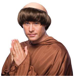 Monk Priest Friar Tuck Medieval Bald Scalp Men Costume Wig