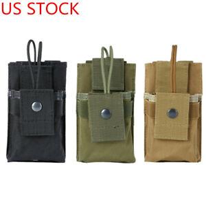 US Tactical Molle Radio Pouch Walkie Talkie Holder Waist Bag Belt Pack Holster